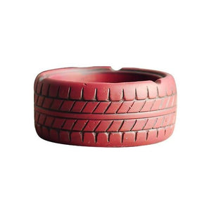 red coloured tire ashtray