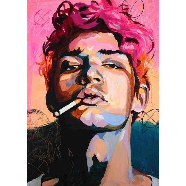 CANVAS PAINTING OF A BOY SMOKING A CIGARETTE