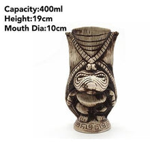 Load image into Gallery viewer, brown tiki mug with size specificaitons