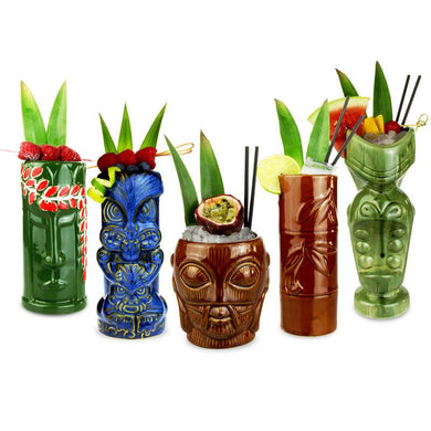 5 assorted tiki tumblers with cocktails