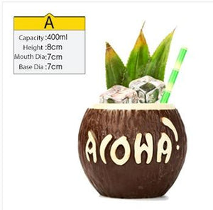 aloha coconut shaped tiki mug filled with a cocktail drink and veggies