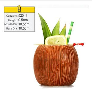 coconut shaped tiki mug filled with a cocktail and some veggies and size specifications