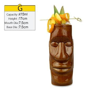 brown ceramic tiki mug filled with a cocktail and some veggies and size specifications