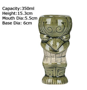 green ceramic tiki mug with size specifications