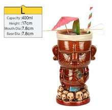 Load image into Gallery viewer, brown ceramic tiki mug filled with a cocktail and some veggies and size specifications