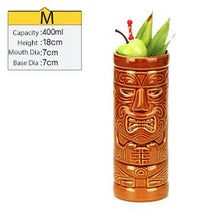 Load image into Gallery viewer, tall brown ceramic tiki mug filled with a cocktail and some veggies and size specifications
