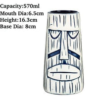 Load image into Gallery viewer, white and black lines tiki mug in the shape of a man's face with size specifications