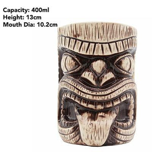 brown wooden tiki tumbler in the shape of a man's face with size specifications
