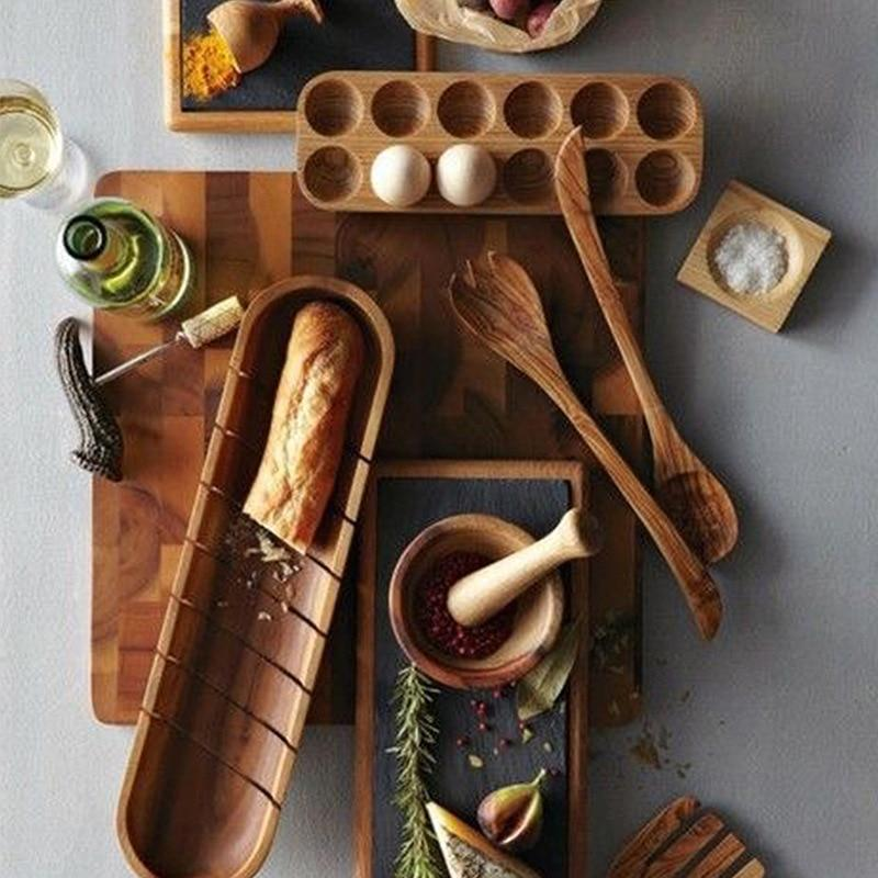 wooden bowls, egg box, spatula, spoon, cutting board