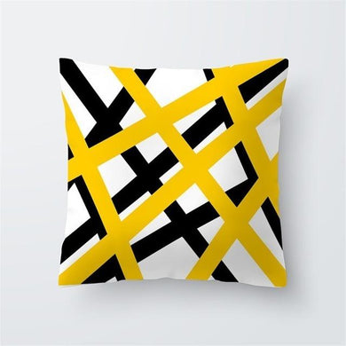 Yellow Submarine Modern and Bright Designer Cushion Cover with Yellow Black and White Colors