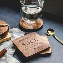 Load image into Gallery viewer, Zakka Natural Wooden Square Coaster with Engraved Soul Quote
