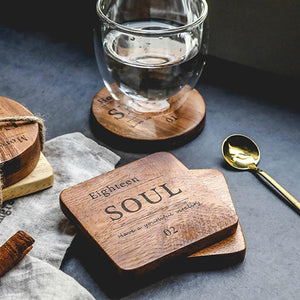 Zakka Natural Wooden Square Coaster with Engraved Soul Quote
