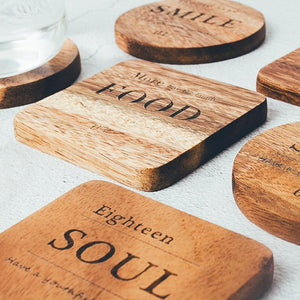 Zakka Natural Wooden Coaster Set with Engraved quote