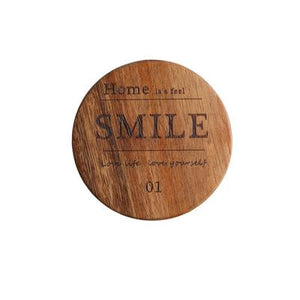 Zakka Natural Wooden Round Coaster with Smile Engraved Quote