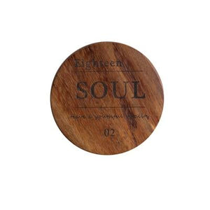 Zakka Natural Wooden Round Coaster with Engraved Soul Quote