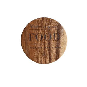 Zakka Natural Wooden Round Coaster with Engraved Food Quote
