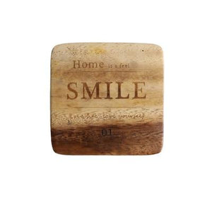 Zakka Natural Wooden Square Coaster with Engraved Smile Quote