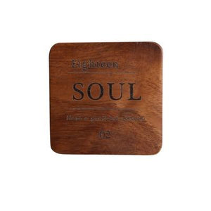 Zakka Natural Wooden Square Coaster Set with Engraved Soul Quote