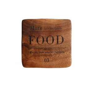 Zakka Natural Wooden Square Coaster with Engraved Food Quote