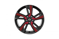 Nissan Juke Red (NAH) Laminate Alloy Wheel Inserts up to chassis #147869