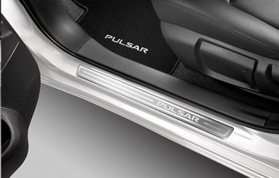 Nissan Pulsar (C13M) Entry Guards, Brushed Aluminium