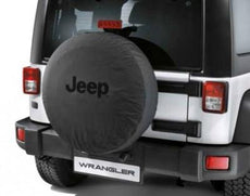 "Jeep Wrangler (JK) Spare Tyre Cover 16"" - Black with Black Jeep Logo"
