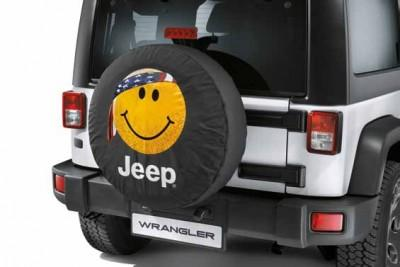 Jeep Wrangler (JK) Spare Tyre Cover - Stubbled Smiley Face for 33x12.50 tyre