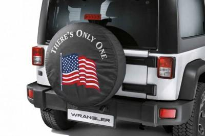 "Jeep Wrangler (JK) Spare Tyre Cover 16"" - Black with the American Flag"