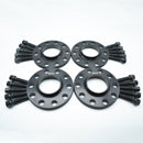 BIMECC BLACK ALLOY WHEEL SPACERS 5X100 5X112 57.1MM  12MM / 15MM SET OF 4 + RADIUS BOLTS
