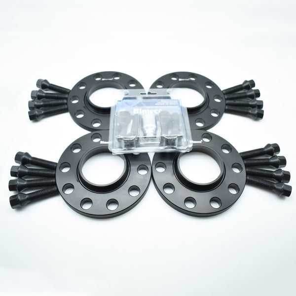 Bimecc Black Alloy Wheel Spacers 5x100 57.1mm  12mm / 15mm Set of 4 + Tapered Bolts & Locking Set