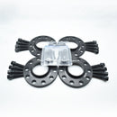 BIMECC BLACK ALLOY WHEEL SPACERS 5X100 5X112 57.1MM  12MM / 15MM SET OF 4 + RADIUS BOLTS & LOCKING SET