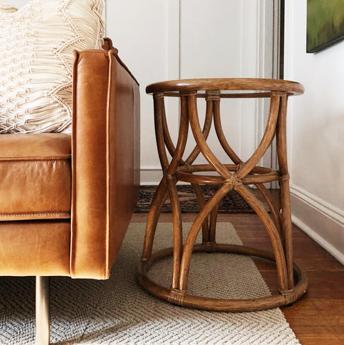 McGuire of San Francisco Rattan Table, Mid Century