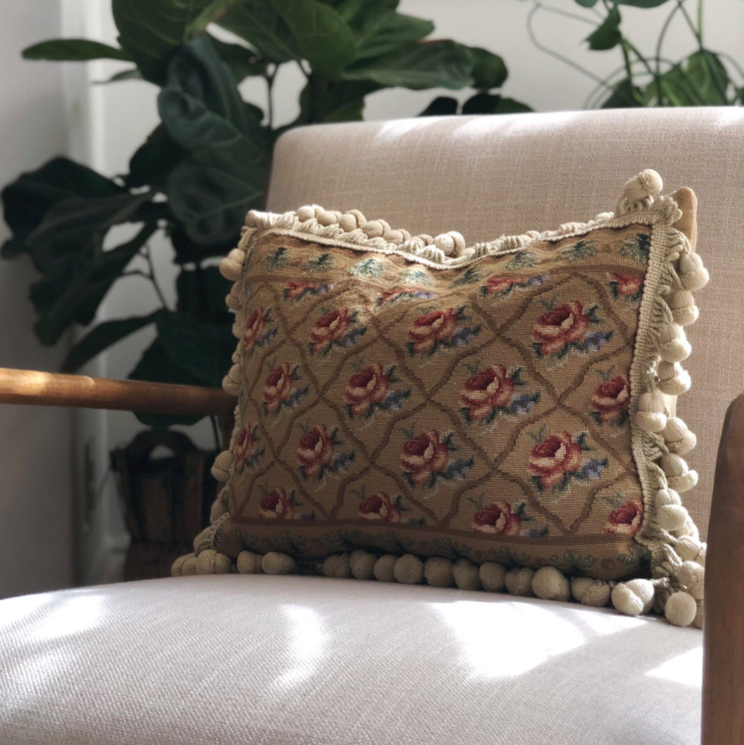 French Provincial Aubusson Needlepoint Throw Pillow with Tassels