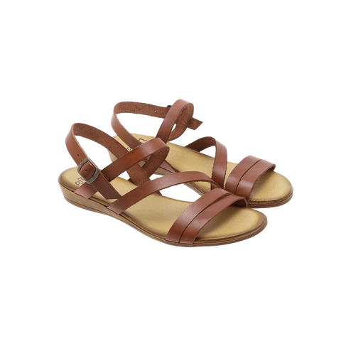 Effortless - P72 Vachetta flat sandal solbrun ♀