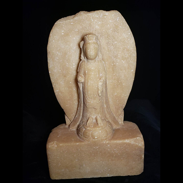 An Ancient Chinese Buddha Statue: Ancient Stone Guanyin Statue