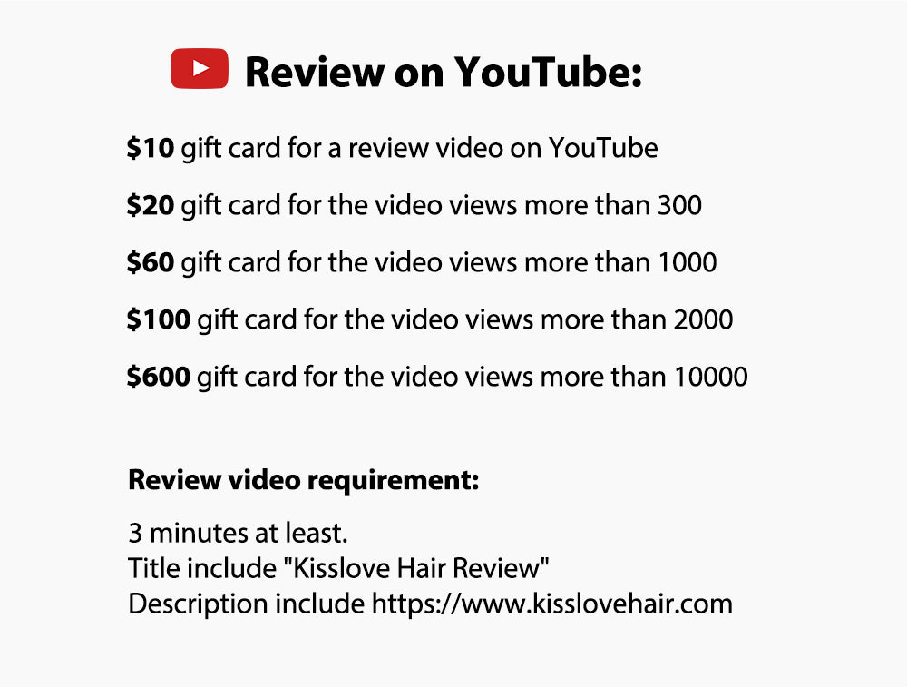 Review kisslove hair on youtube to get free gift cards