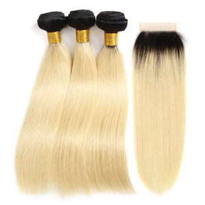 kisslove hair Ombre Blonde 3 Bundles With Closure 1B/613 3 Bundles with 4*4 closure