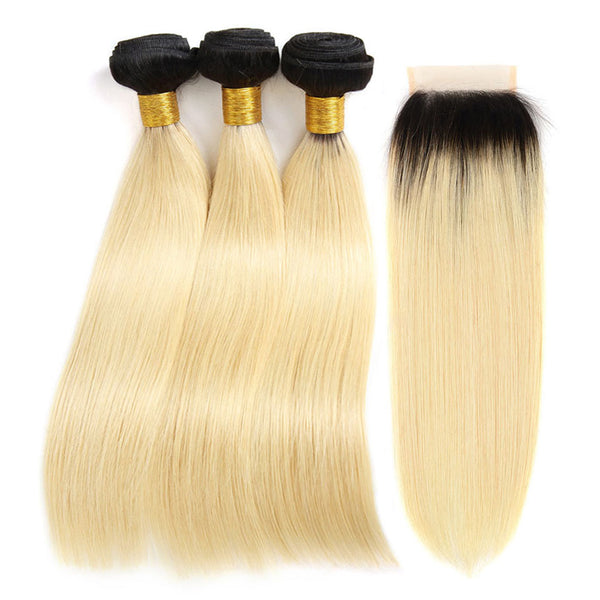 kisslove hair Ombre Blonde 3 Bundles With Closure 1B/613 Black and Blonde Hair Bundles Dark Roots