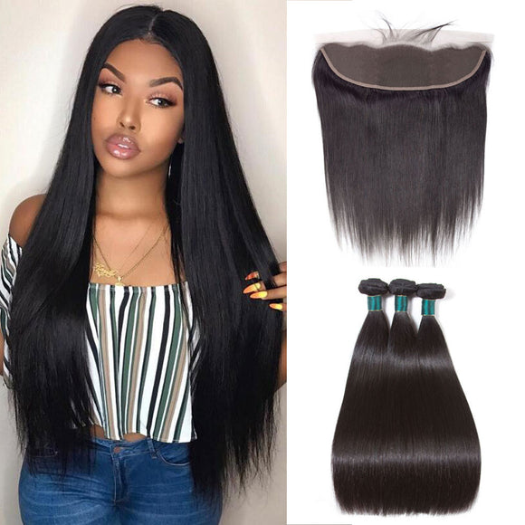 9A kisslovehair Brazilian Straight Hair 3 Bundles Human Hair With 13*4 Free Part