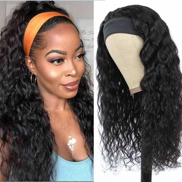 Water Wave Headband Wig 10-28Inch Easy to Install Glueless Human Hair Wigs Virgin Hair Scarf Wig