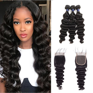 9A kisslove Brazlian Loose Deep Wave 3 Bundles With 4*4 Lace Closure