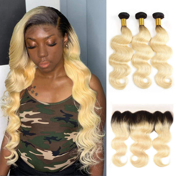 kisslovehair Brazilian Ombre 613 Blonde body wave 3 Bundles With 4*13 Frontal 1B/613