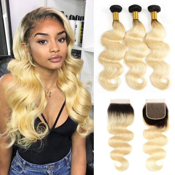kisslove 1b/613 Blonde 3 Bundles With 4*4 Closure Free Part Brazilian Body Wave hair