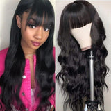 9A Full Machine Made Wigs Body Wave Human Hair Wigs With Bangs