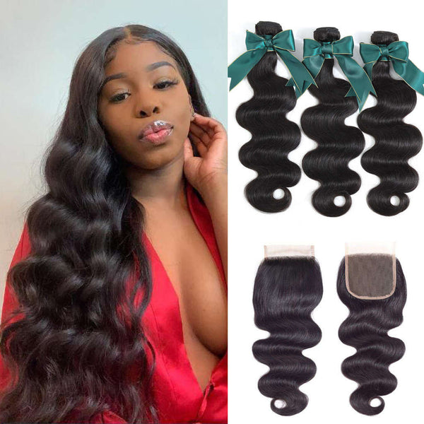 9A kisslovehair peruvian Body Wave Hair 3 Bundles With 4*4 Closure 100% Human Hair
