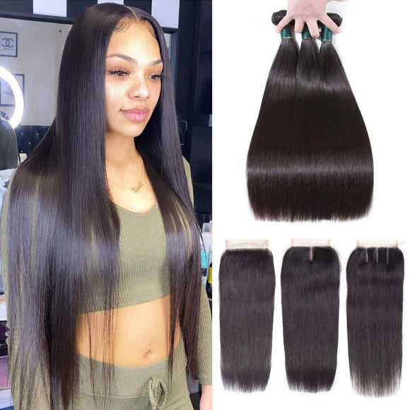 9A kisslovehair Brazilian Straight 3 Bundles With 4*4 Closure remy Hair