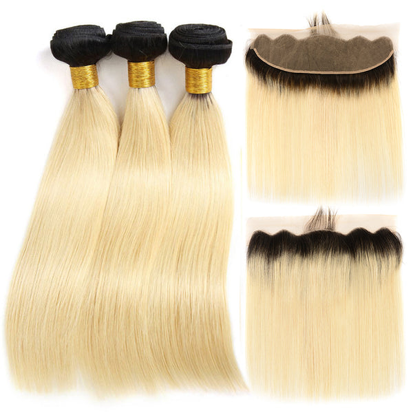 kisslove 1b/613 Ombre Black and Blonde Bundles With 4*13 Frontal Blonde Remy straight Hair