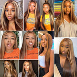 Highlight Wig Brown Lace Front Wigs Straight Hair -KissLove Hair