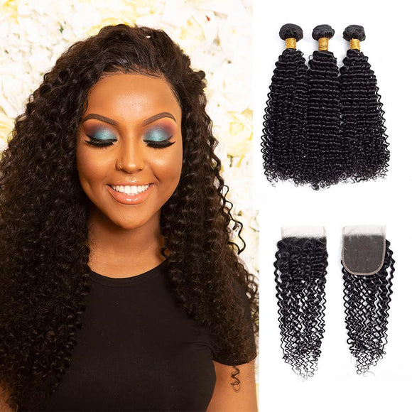 9A kisslove Brazilian Kinky Curly Hair 3 Bundles with 4*4 Closure Human Hair