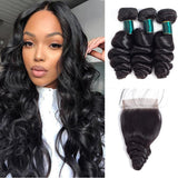 9A kisslove Brazilian Loose Wave 3 Bundles With 4*4 Lace Closure human hair extensions